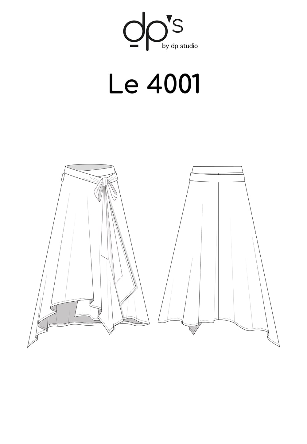 Dp Studio Le 4001 Wrap Skirt Blanche Blanche