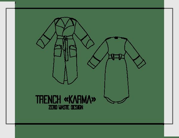 patron couture trench karma zero waste sewing pattern milan avjc