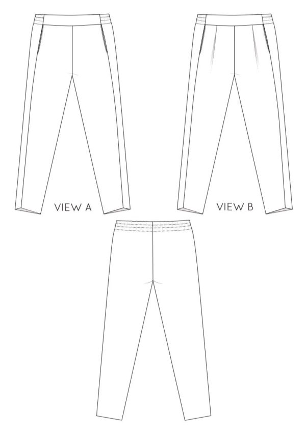 sewing pattern calyer pants French Navy